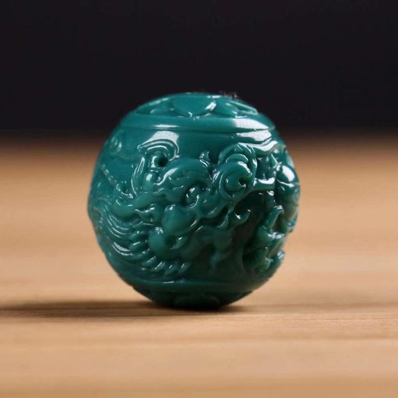 鸿木斋 松石雕刻 天然高瓷果冻料松石龙珠 孤品S1216 (2).jpg
