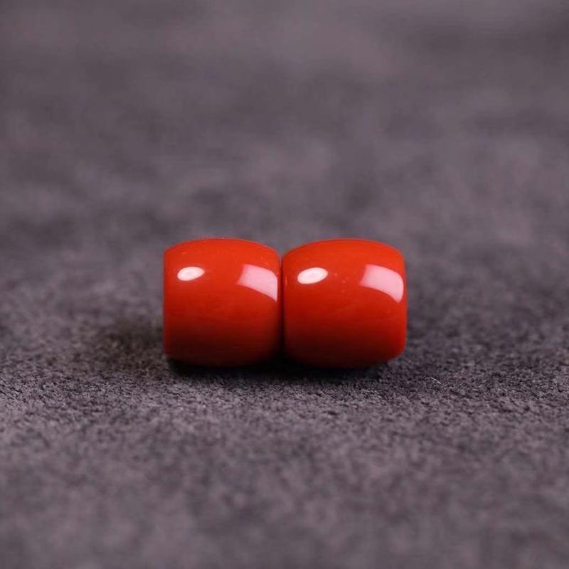 鸿木斋 南红腰珠 天然柿子红瓦西料南红对珠 孤品N3785 (1).jpg
