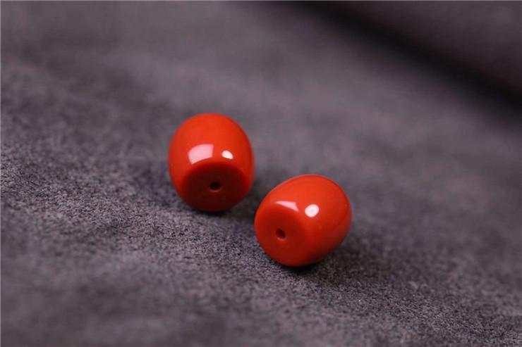 鸿木斋 南红腰珠 天然柿子红瓦西料南红对珠 孤品N3785 (6).jpg