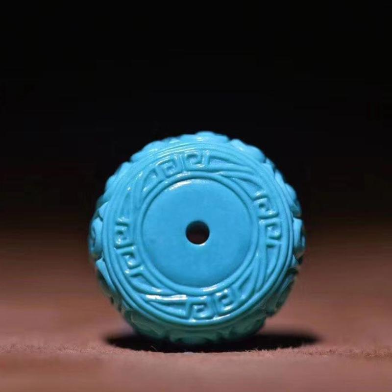 鸿木斋 松石顶珠 天然高瓷高蓝松石回纹鼓珠 孤品S1219 (2).jpg