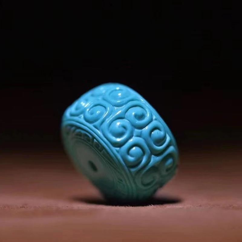 鸿木斋 松石顶珠 天然高瓷高蓝松石回纹鼓珠 孤品S1219 (4).jpg