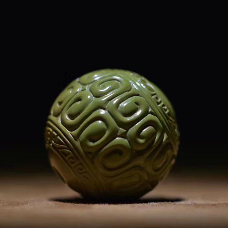 鸿木斋 松石单珠 天然高瓷军绿回纹珠 孤品S1218 (4).jpg
