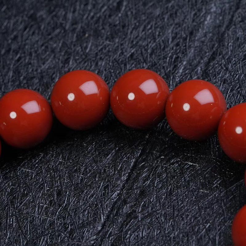 鸿木斋 南红手串 天然瓦西料柿子红南红圆珠手链 孤品N3789 (3).jpg