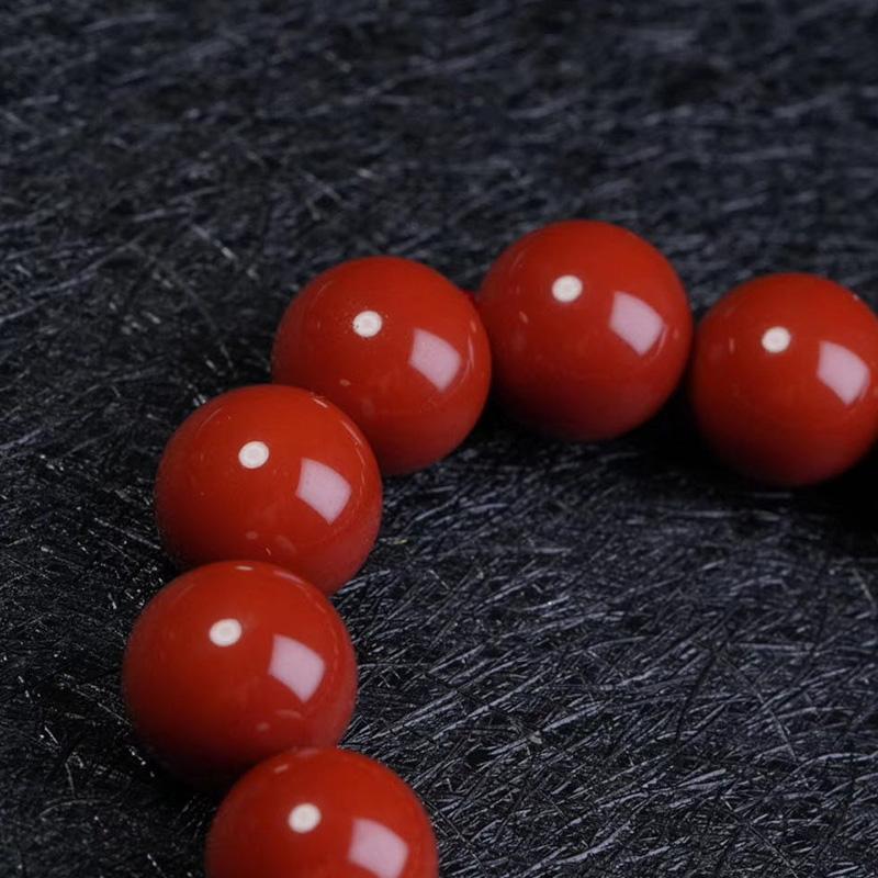 鸿木斋 南红手串 天然瓦西料柿子红南红圆珠手链 孤品N3789 (2).jpg