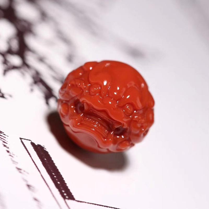 鸿木斋 南红雕刻 天然纯色瓦西南红兽球 孤品N3787 (1).jpg