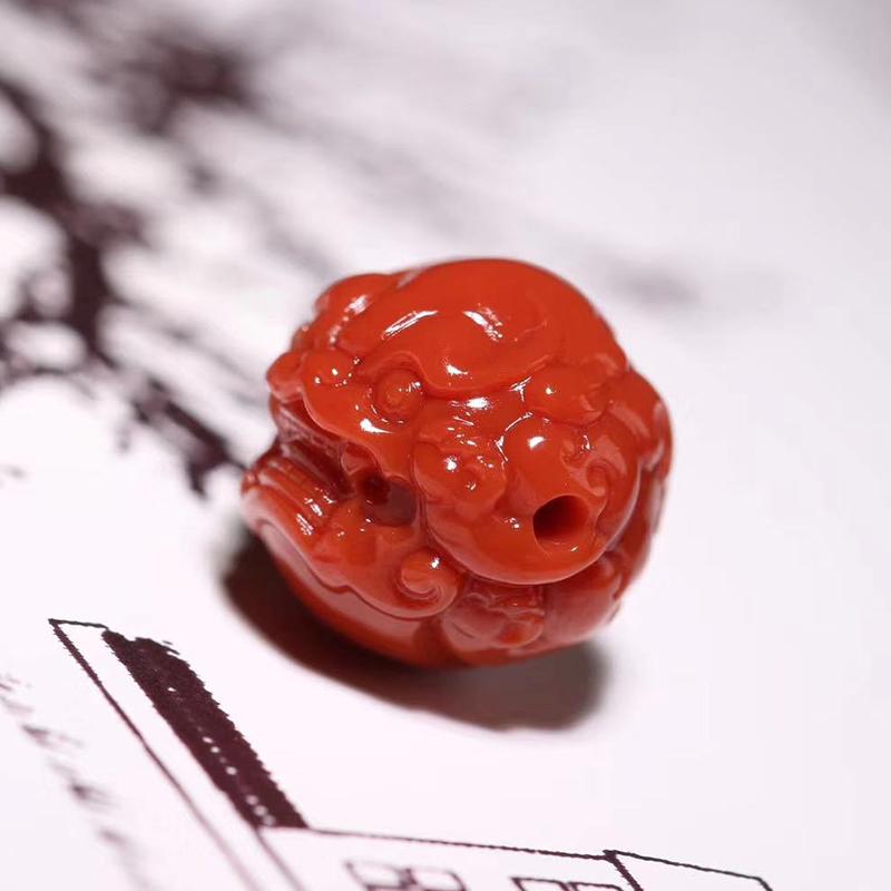鸿木斋 南红雕刻 天然纯色瓦西南红兽球 孤品N3787 (3).jpg