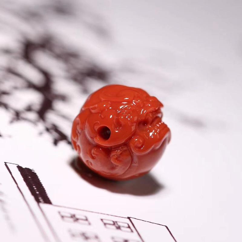 鸿木斋 南红雕刻 天然纯色瓦西南红兽球 孤品N3787 (4).jpg